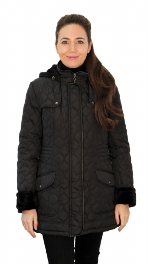 Womens ❤️Plus❤️ Fleece Lined Hooded Quilted Black Coat db218